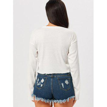 Long Sleeve Embroidered Drop Shoulder Cropped Top - WHITE S