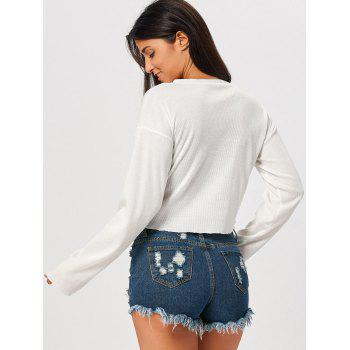 Long Sleeve Embroidered Drop Shoulder Cropped Top - WHITE M