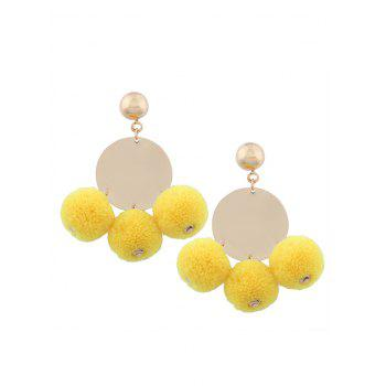 Fuzzy Ball Round Disc Earrings