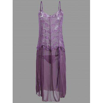 Plus Size See Through Cami Dress with Lace