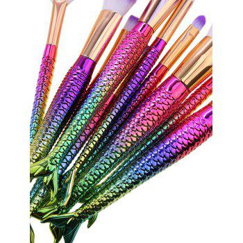 10Pcs Ombre Hair Mermaid Tail Makeup Brushes Kit - RED/GREEN