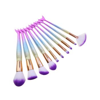 10Pcs Ombre Hair Mermaid Tail Makeup Brushes Kit - Bleu Rosé