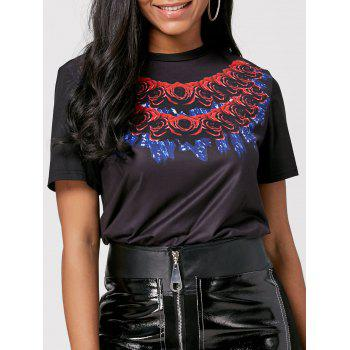 Long 3D Rose Print Short Sleeve T-shirt - BLACK M