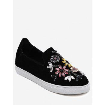 Beading Suede Slip On Flat Shoes