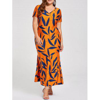 Plus Size Printed Maxi Sheath Mermaid Dress