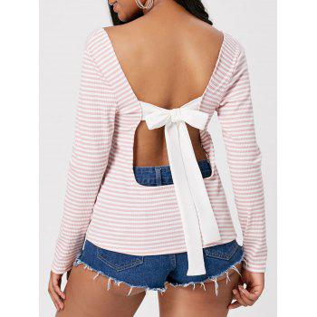 Striped Self Tie Open Back T-shirt