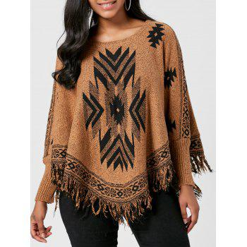 Batwing Fringed Graphic Sweater