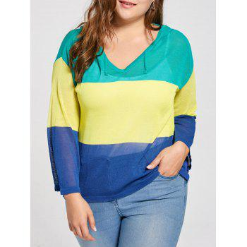 Transparent Plus Size Color Block Hooded Sweater