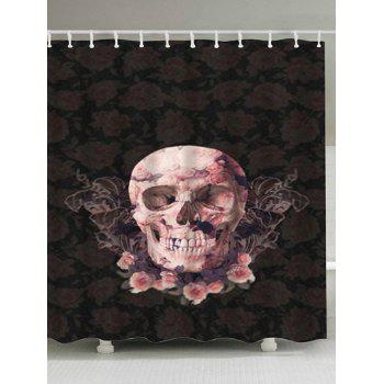 Flowers Skull Print Waterproof Bathroom Shower Curtain