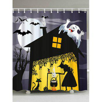 Halloween Night Witch Print Waterproof Bathroom Shower Curtain