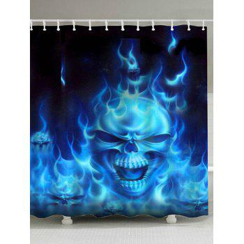 Flame Skull Print Fabric Bathroom Shower Curtain