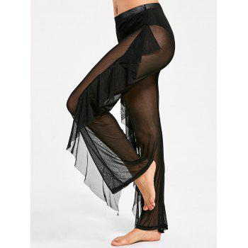 Ruffled Mesh See Through Cover Up Pants - BLACK L