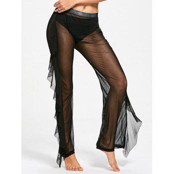 Ruffled Mesh See Through Cover Up Pants