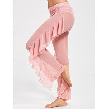 Ruffled Mesh See Through Cover Up Pants - PINK M