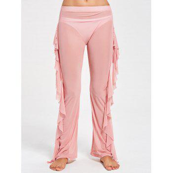 Ruffled Mesh See Through Cover Up Pants - M M