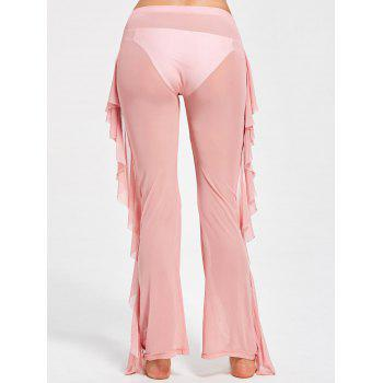 Ruffled Mesh See Through Cover Up Pants - PINK S