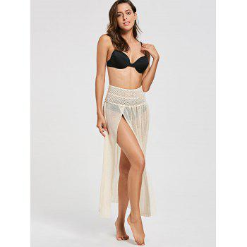 Crochet Slit Convertible Swimsuit Cover Up - RAL Beige ONE SIZE