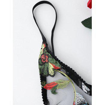 Floral Embroidered Mesh Slip Teddy - BLACK M