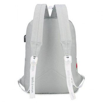 Nylon USB Interface Zippers Backpack -  LIGHT GRAY