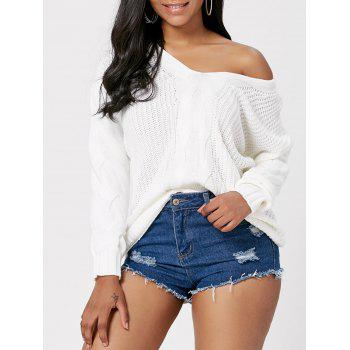 Deep V Neck Cable Knitted Sweater