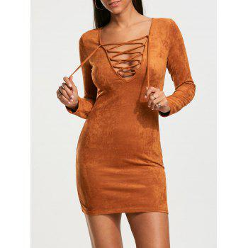 Criss Cross Faux Suede Plunging Neckline Dress