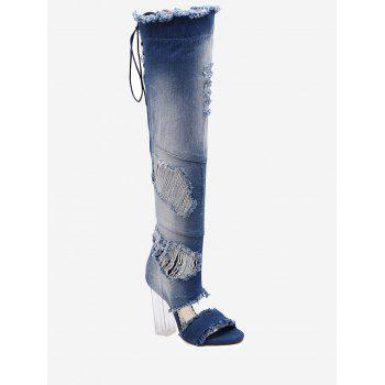 Lucite Heel Denim Over The Knee Boots