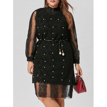 Plus Size Lace Dress with Pearl Embellished Vest
