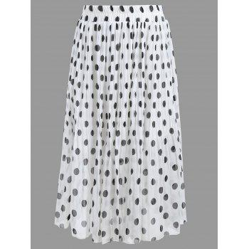 Plus Size Polka Dot Pleated Skirt