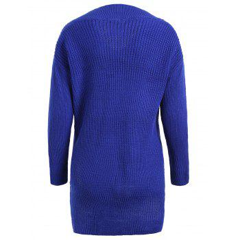 Plus Size Drop Shoulder High Low Sweater - BLUE ONE SIZE