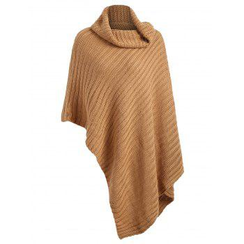 Plus Size Funnel Neck Chunky Poncho Sweater