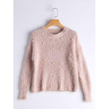 Faux Pearl Embellished Short Knit Sweater