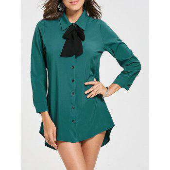 Bow Collar Long Sleeve Shirt Dress