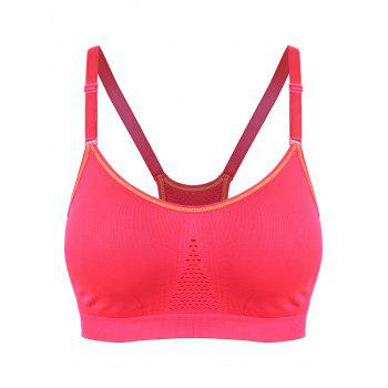 Adjustable Padded Comfortable Sports Bra - RED L