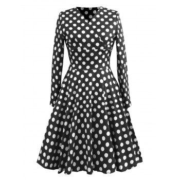 Vintage Long Sleeve Polka Dot Skater Dress