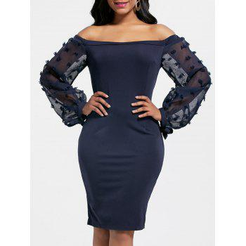 Off The Shoulder Sheer Sleeve Bodycon Dress