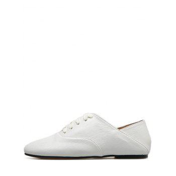 Lace Up Faux Leather Sneakers - WHITE 39