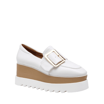 Belt Buckle Faux Leather Wedge Shoes - WHITE 38