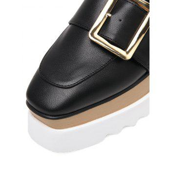 Belt Buckle Faux Leather Wedge Shoes - BLACK 38