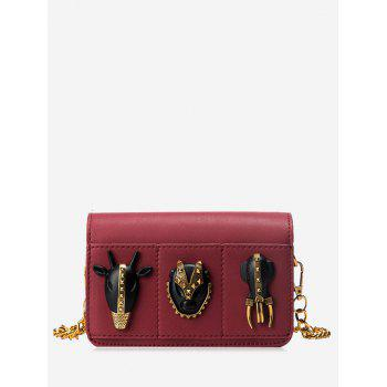 Rivets Faux Leather Chain Crossbody Bag