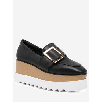 Belt Buckle Faux Leather Wedge Shoes - BLACK 39