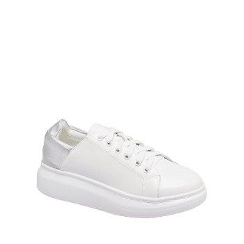 Colorblocked Platform Sneakers - SILVER 38