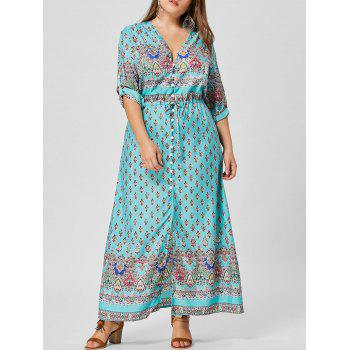 V Neck Button Plus Size Maxi Dress