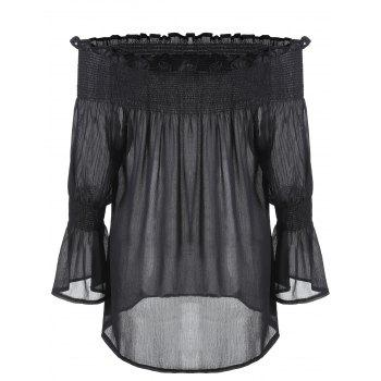 Plus Size Off The Shoulder Smocked Blouse - BLACK 4XL