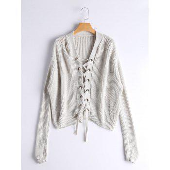 Lace Up Ribbed Chunky Sweater