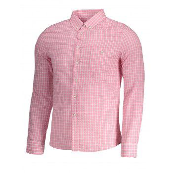Button Down Checked Mens Shirt - PINK 4XL