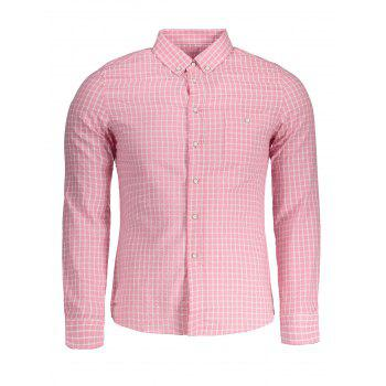 Button Down Checked Mens Shirt - PINK PINK