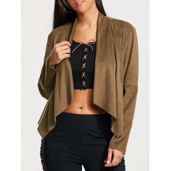 Plain Faux Suede Waterfall Jacket with Zipper Pocket