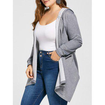 Plus Size Hooded Asymmetrical Tunic Coat - GRAY 4XL