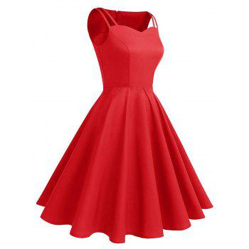 Vintage Hollow Out High Waist Pin Up Dress - RED S