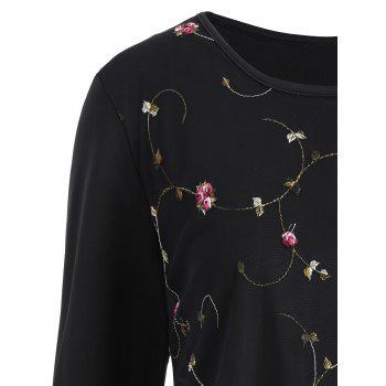 Plus Size Floral Embroidered Mesh Overlay Top - BLACK 4XL